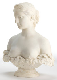 After HIRAM POWERS (American, 1805-1873) Proserpine Marble 24 x 19 x 9 inches (61.0 x 48.3 x 22.9