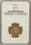 Liberty Half Eagles: , 1849 $5 AU55 NGC. NGC Census: (33/66). PCGS Population (5/18).Mintage: 133,070. Numismedia Wsl. Price for problem free NGC...
