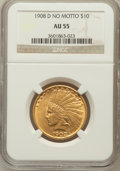 Indian Eagles: , 1908-D $10 No Motto AU55 NGC. NGC Census: (62/722). PCGS Population(126/616). Mintage: 210,000. Numismedia Wsl. Price for ...