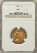 Indian Half Eagles: , 1915-S $5 AU55 NGC. NGC Census: (250/682). PCGS Population(101/364). Mintage: 164,000. Numismedia Wsl. Price for problem f...