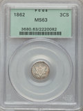 Three Cent Silver: , 1862 3CS MS63 PCGS. PCGS Population (213/575). NGC Census:(165/664). Mintage: 343,000. Numismedia Wsl. Price for problem f...