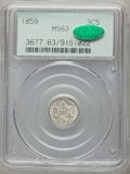 Three Cent Silver: , 1859 3CS MS63 PCGS. CAC. PCGS Population (82/120). NGC Census:(59/144). Mintage: 364,200. Numismedia Wsl. Price for proble...