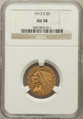 Indian Half Eagles: , 1913-S $5 AU58 NGC. NGC Census: (635/382). PCGS Population(169/287). Mintage: 408,000. Numismedia Wsl. Price for problem f...