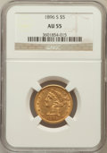 Liberty Half Eagles: , 1896-S $5 AU55 NGC. NGC Census: (67/162). PCGS Population (30/82).Mintage: 155,400. Numismedia Wsl. Price for problem free...