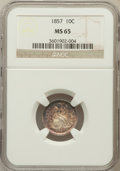 Seated Dimes: , 1857 10C MS65 NGC. NGC Census: (35/12). PCGS Population (17/2).Mintage: 5,580,000. Numismedia Wsl. Price for problem free ...