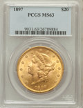 Liberty Double Eagles: , 1897 $20 MS63 PCGS. PCGS Population (1361/202). NGC Census:(2542/321). Mintage: 1,383,261. Numismedia Wsl. Price for probl...