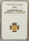 Gold Dollars: , 1849 G$1 Closed Wreath MS62 NGC. NGC Census: (102/196). PCGSPopulation (31/118). ...