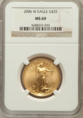 Modern Bullion Coins, 2006-W $25 Half Ounce Gold Eagle MS69 NGC. NGC Census: (2963/4288).PCGS Population (5232/1630). Numismedia Wsl. Price for...