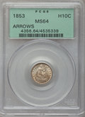 Seated Half Dimes: , 1853 H10C Arrows MS64 PCGS. PCGS Population (152/91). NGC Census:(201/133). Mintage: 13,210,020. Numismedia Wsl. Price for...