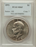 Eisenhower Dollars: , 1973 $1 MS65 PCGS. PCGS Population (1051/84). NGC Census: (383/23). Mintage: 2,000,056. Numismedia Wsl. Price for problem f...