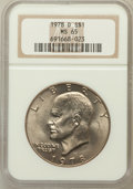 Eisenhower Dollars: , 1978-D $1 MS65 NGC. NGC Census: (3918/576). PCGS Population (966/531). Mintage: 33,012,890. Numismedia Wsl. Price for probl...