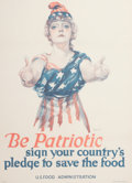 Prints, PAUL C. STAHR (American, 1883-1953). Be Patriotic, Sign Your Country's Pledge to Save the Food, 1918. Color lithograph. ...