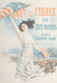 HOWARD CHANDLER CHRISTY (American, 1872-1952) Fight or Buy Bonds! Third Liberty Loans, 1917 Color li