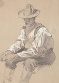 Mainstream Illustration, JOSEPH CHRISTIAN LEYENDECKER (American, 1874-1951). SeatedMan. Pencil on paper. 7.25 x 5 in. (image). Not signed. ...