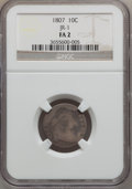 Early Dimes, 1807 10C Fair 2 NGC. JR-1. NGC Census: (10/220). PCGS Population(11/342). Mintage: 165,000. Numismedia Wsl. Price for prob...
