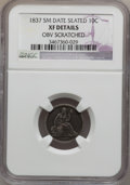 Seated Dimes, 1837 10C No Stars, Small Date -- Obverse Scratched -- NGC Details.XF. NGC Census: (0/0). PCGS Population (7/82). Numismed...