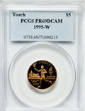 Modern Issues: , 1995-W G$5 Olympic/Torch Runner Gold Five Dollar PR69 Deep CameoPCGS. PCGS Population (2398/152). NGC Census: (1178/591). ...