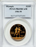 1984-W G$10 Olympic Gold Ten Dollar PR69 Deep Cameo PCGS. PCGS Population (7366/209). NGC Census: (4548/852). Mintage: 3...