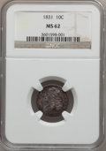 Bust Dimes: , 1831 10C MS62 NGC. NGC Census: (36/125). PCGS Population (23/106).Mintage: 771,350. Numismedia Wsl. Price for problem free...