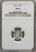 Seated Half Dimes: , 1863 H10C MS62 NGC. NGC Census: (15/83). PCGS Population (10/105).Mintage: 18,000. Numismedia Wsl. Price for problem free ...