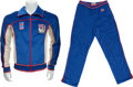 Hockey Collectibles:Uniforms, 1980 Mike Eruzione Gold Medal Ceremony Worn USA Olympic TeamSweatsuit....