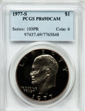 Proof Eisenhower Dollars: , 1977-S $1 PR69 Deep Cameo PCGS. PCGS Population (13685/13). NGCCensus: (1394/0). Numismedia Wsl. Price for problem free N...