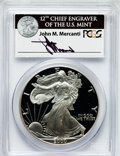 Modern Bullion Coins, 2000-P $1 Silver Eagle Insert autographed By John M. Mercanti,12thChief Engraver of the U.S. Mint PR70 Deep Cameo PCGS. PC...