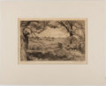 Books:Prints & Leaves, Signed Original Etching of a Person Working in a Field. Ca. 1920.Approx. 11 x 13.2 inches. Matted. Very good....