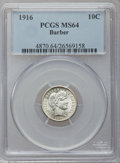 Barber Dimes: , 1916 10C MS64 PCGS. PCGS Population (326/150). NGC Census:(302/185). Mintage: 18,490,000. Numismedia Wsl. Price for proble...