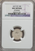 Seated Dimes: , 1877-CC 10C -- Stained -- NGC Details. Unc. NGC Census: (2/312).PCGS Population (0/268). Mintage: 7,700,000. Numismedia Ws...