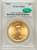 Saint-Gaudens Double Eagles: , 1924 $20 MS66 PCGS. CAC. PCGS Population (7912/79). NGC Census:(4616/168). Mintage: 4,323,500. Numismedia Wsl. Price for p...