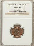 Lincoln Cents, 1955 1C Doubled Die Obverse MS60 Brown NGC. NGC Census: (7/1141).PCGS Population (10/932). Mintage: 5,000. Numismedia Wsl....