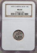 Seated Dimes: , 1875-S 10C Mintmark Above Bow MS64 NGC. NGC Census: (0/0). PCGSPopulation (3/6). Numismedia Wsl. Price for problem free N...