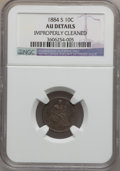 Seated Dimes: , 1884-S 10C -- Improperly Cleaned -- NGC Details. AU. NGC Census:(2/45). PCGS Population (4/55). Mintage: 564,969. Numismed...
