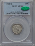 Barber Dimes: , 1903-O 10C AU58 PCGS. CAC. PCGS Population (27/86). NGC Census:(28/77). Mintage: 8,180,000. Numismedia Wsl. Price for prob...
