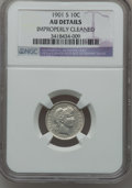 Barber Dimes: , 1901-S 10C -- Improperly Cleaned -- NGC Details. AU. NGC Census:(1/50). PCGS Population (3/63). Mintage: 593,022. Numismed...