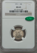 Barber Dimes: , 1911 10C MS65 NGC. CAC. NGC Census: (133/55). PCGS Population(131/87). Mintage: 18,870,544. Numismedia Wsl. Price for prob...