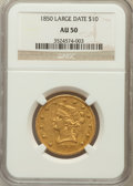 Liberty Eagles: , 1850 $10 Large Date AU50 NGC. NGC Census: (43/196). PCGS Population(39/50). Mintage: 291,451. Numismedia Wsl. Price for pr...