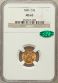 Gold Dollars: , 1889 G$1 MS65 NGC. CAC. NGC Census: (314/473). PCGS Population(476/533). Mintage: 29,000. Numismedia Wsl. Price for proble...
