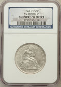 Seated Half Dollars, 1861-O 50C SS Republic -- Shipwreck Effect -- NGC. Wooden displaybox, book and COA included. Mintage: 2,532,633....