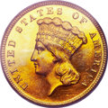 Proof Three Dollar Gold Pieces, 1889 $3 PR64 Cameo PCGS. CAC....