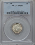 Barber Dimes: , 1911-D 10C MS64 PCGS. PCGS Population (65/99). NGC Census: (60/72).Mintage: 11,209,000. Numismedia Wsl. Price for problem ...