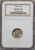 Mercury Dimes: , 1943-S 10C MS67 ★ Full Bands NGC. NGC Census: (174/7). PCGSPopulation (181/15). Mintage: 60,...