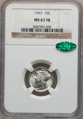 Mercury Dimes: , 1943 10C MS67 Full Bands NGC. CAC. NGC Census: (170/1). PCGSPopulation (207/3). Mintage: 191,710,000. Numismedia Wsl. Pric...
