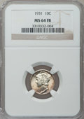 Mercury Dimes: , 1931 10C MS64 Full Bands NGC. NGC Census: (41/67). PCGS Population(149/179). Mintage: 3,150,000. Numismedia Wsl. Price for...