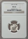 Mercury Dimes: , 1931-D 10C MS66 NGC. NGC Census: (33/3). PCGS Population (25/4).Mintage: 1,260,000. Numismedia Wsl. Price for problem free...