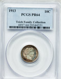 Proof Barber Dimes, 1913 10C PR64 PCGS. Ex: Teich Family Collection. PCGS Population(74/47). NGC Census: (62/46). Mintage: 622. Numismedia Wsl...