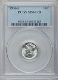 Mercury Dimes: , 1936-S 10C MS67 Full Bands PCGS. PCGS Population (163/2). NGCCensus: (49/1). Mintage: 9,210,000. Numismedia Wsl. Price for...