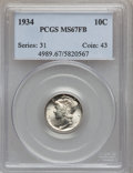 Mercury Dimes: , 1934 10C MS67 Full Bands PCGS. PCGS Population (168/21). NGCCensus: (60/8). Mintage: 24,080,000. Numismedia Wsl. Price for...