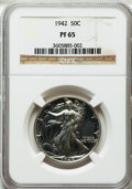Proof Walking Liberty Half Dollars: , 1942 50C PR65 NGC. NGC Census: (927/2302). PCGS Population(1650/2355). Mintage: 21,120. Numismedia Wsl. Price for problem ...